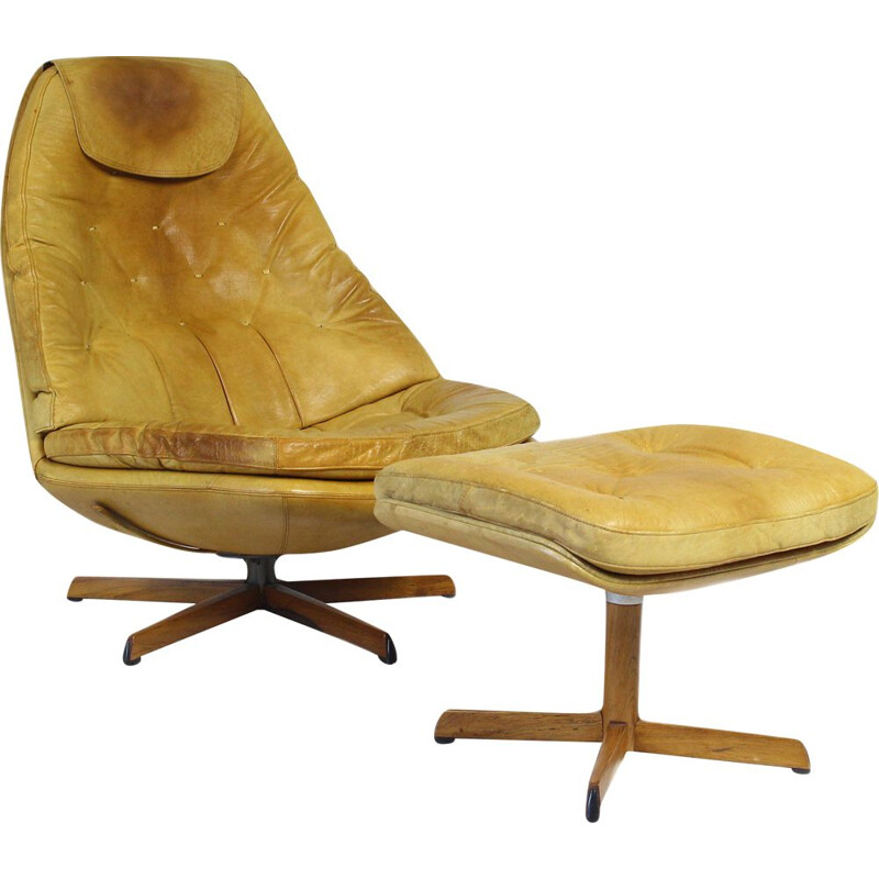 Vintage Leather Lounge Chair with Ottoman by Madsen & Schubell, 1960s