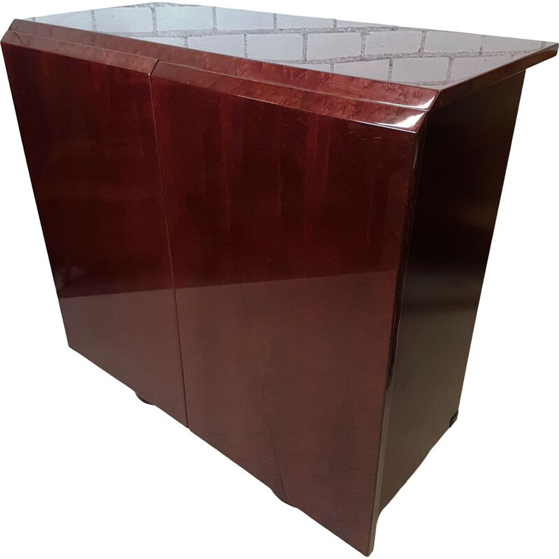 Vintage Red bordeaux burl wood sideboard by Giovanni Offredi for Saporiti Italia, 1980s