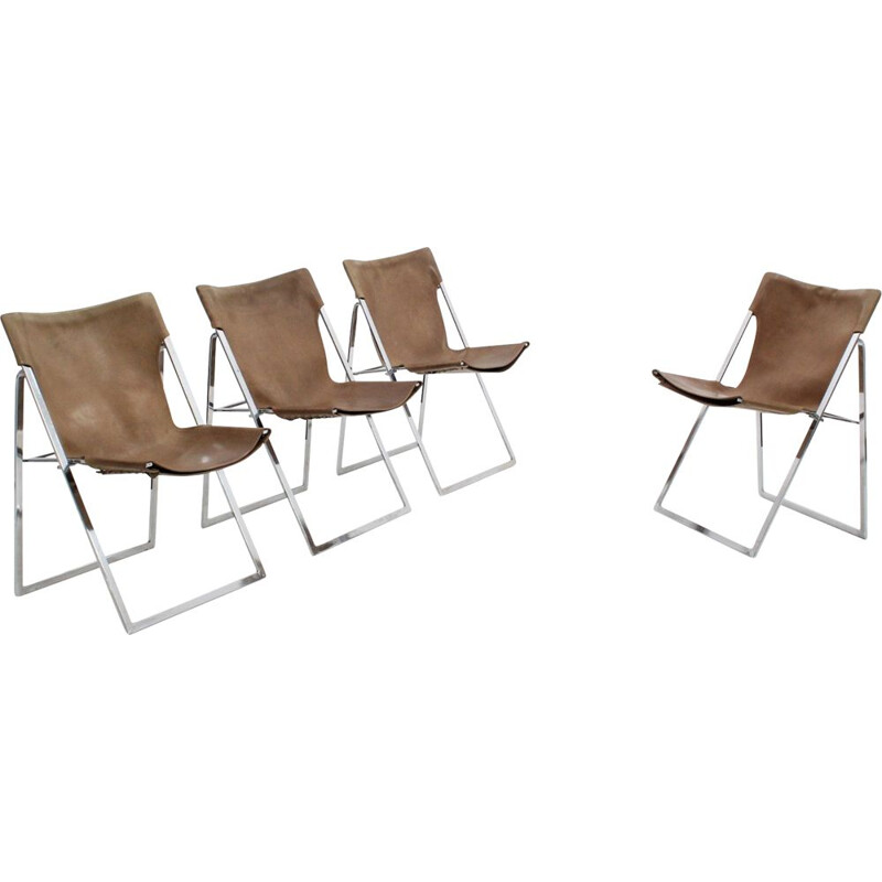 Set of 4 vintage folding dining chairs Italian 1970s