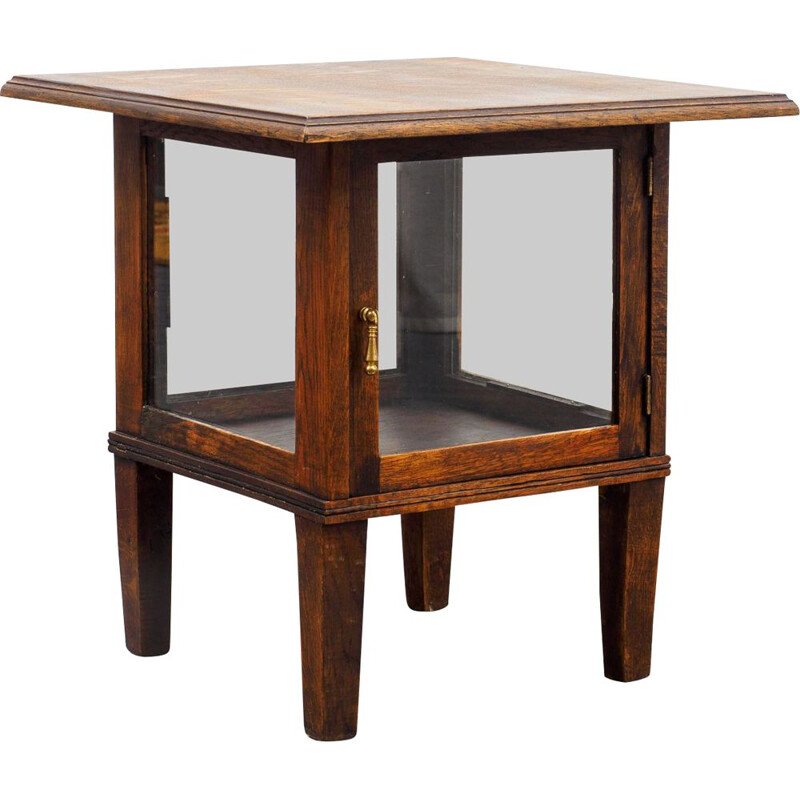 Vintage side table with glass cabinet, oak 1940s