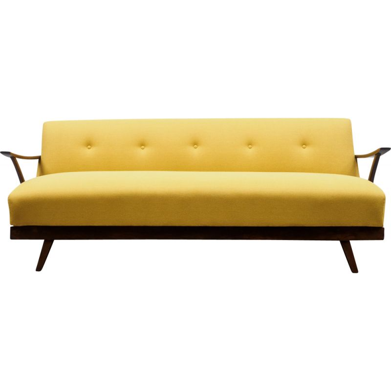 Mid-Century fold-out sofa, restored, yellow 1950s