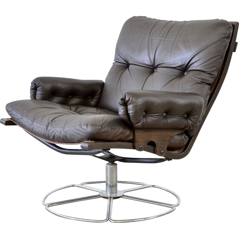 Vintage Dux leather lounge chair by Bruno Mathsson 1970