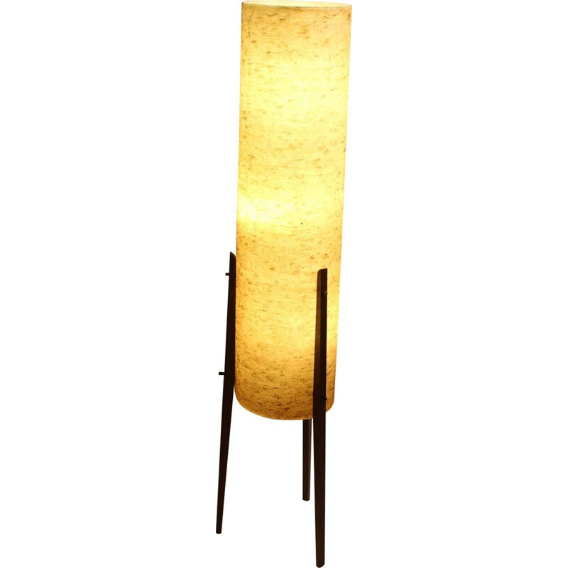 Vintage Large Yellow Rocket floor lamp with glass fiber shade
