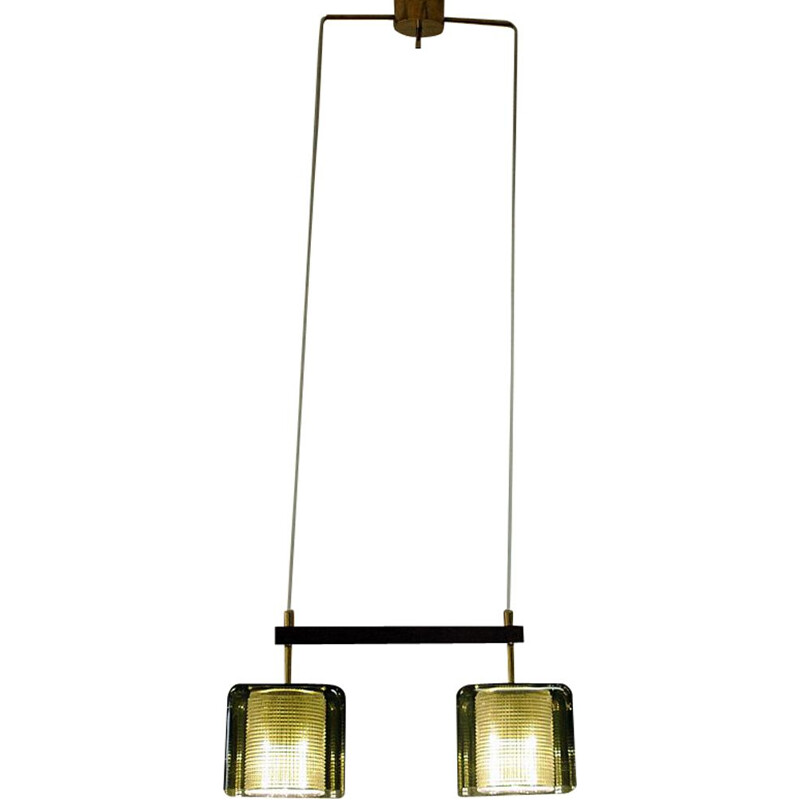 Vintage pair of Ceiling window pendant lamp, Fagerlund for Orrefors Sweden 1950