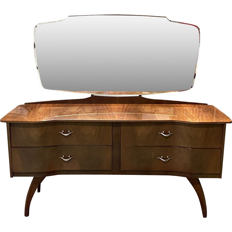 Vintage walnut dressing table with compass feet 1970