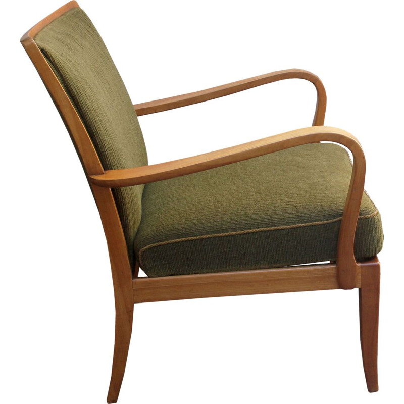 Vintage armchair in olive-green Knoll Antimmott 1950s