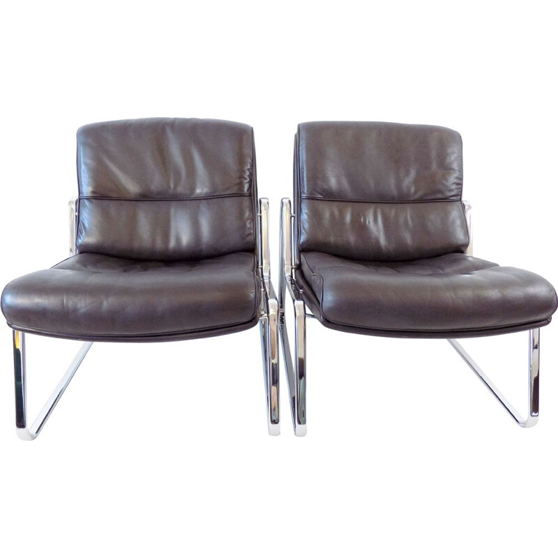 Pair of vintage brown leather lounge chairs Drabert by Gerd Lange
