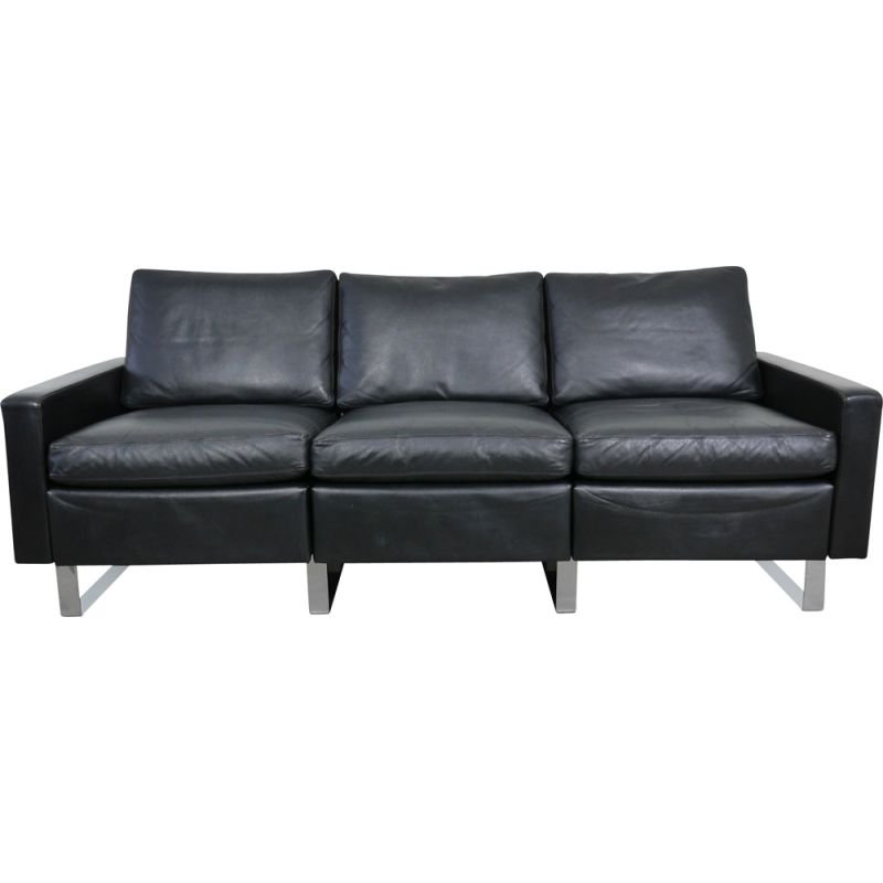 Vintage Black Leather Conseta Sofa by F. W. Möller for Cor Germany 1960