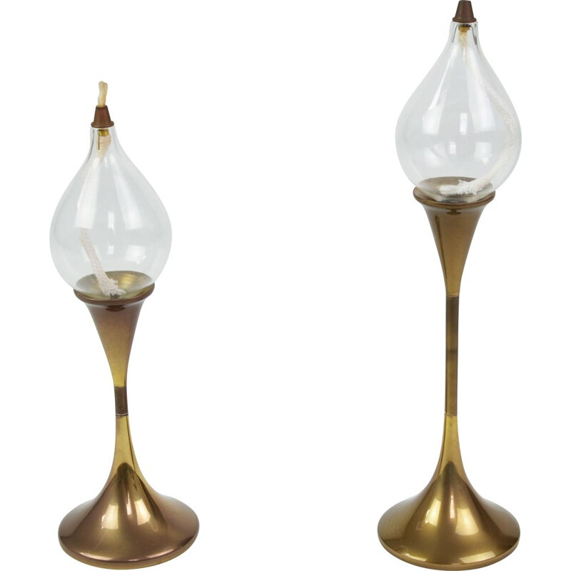 Pair of vintage oil lamps by F. Andersen 1970s