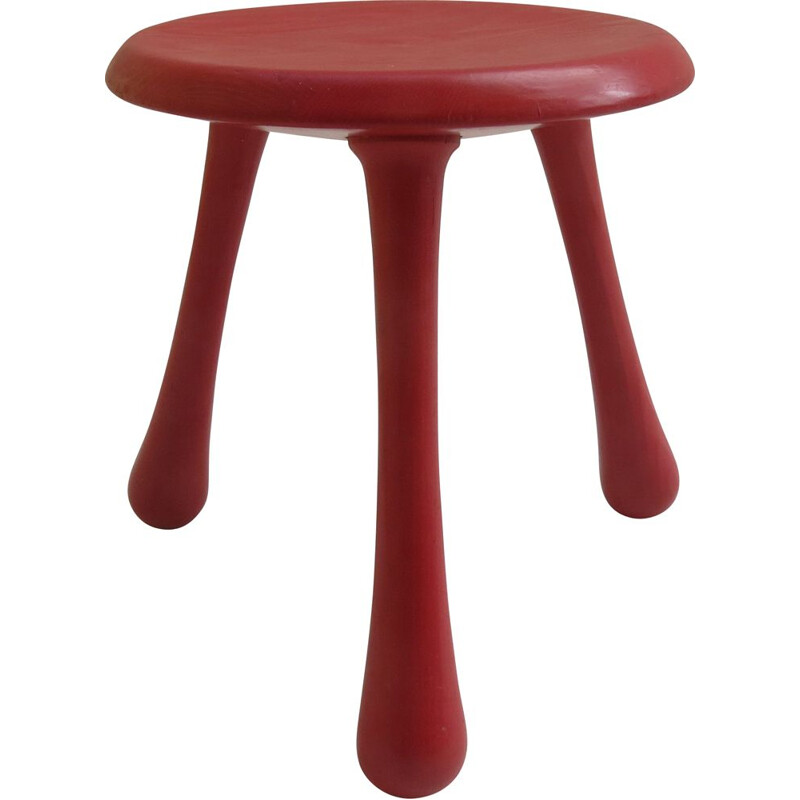 Vintage Red Three Legged Stool By Ingvar Kamprad For Habitat 2004