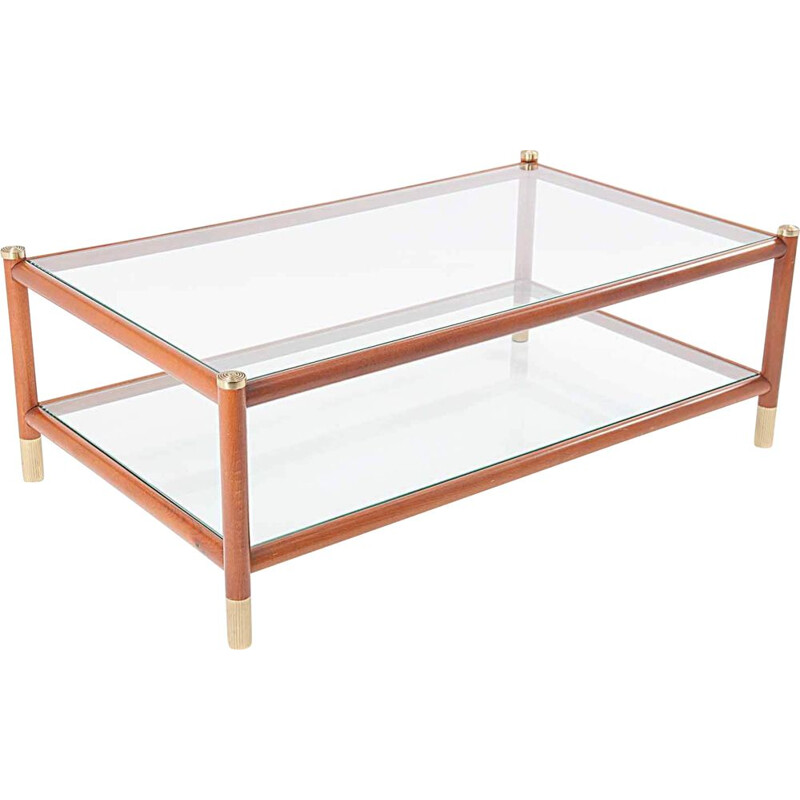Vintage coffee table in wood brass and glass by Maison Lancel 1965
