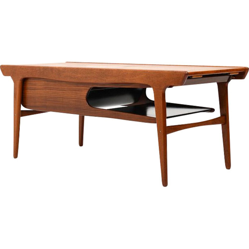 Mid Century Teak Table with Formica Inlays Danish 1960
