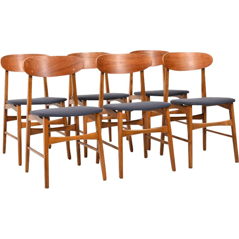 Set of 6 Mid Century Dining Chairs with Teak New Upholstered 1955