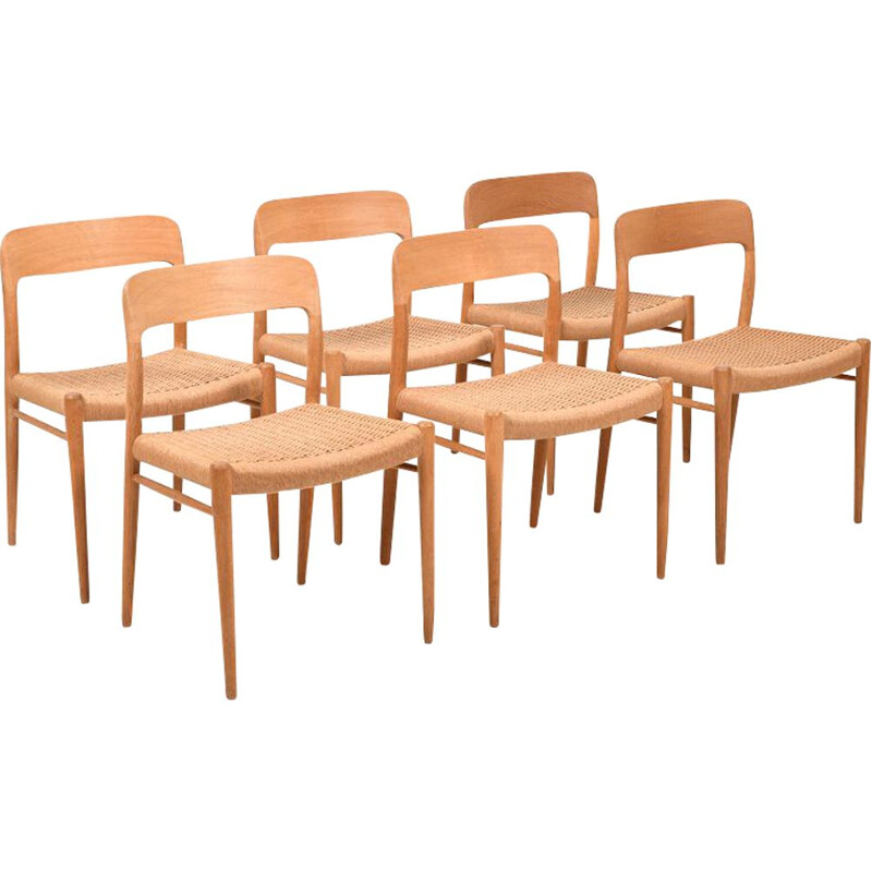Set of 6 vintage Dining Chairs Model 75 by Niels Otto Møller for J.L. Møllers Danish 1960