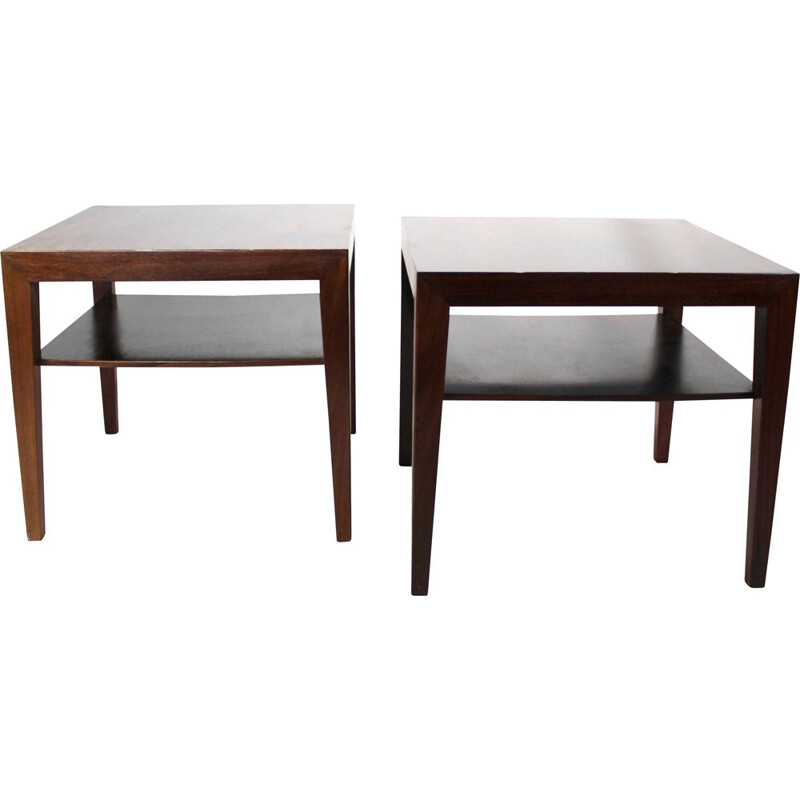 Pair of vintage side tables in rosewood by Severin Hansen for Haslev Furniture 1960s