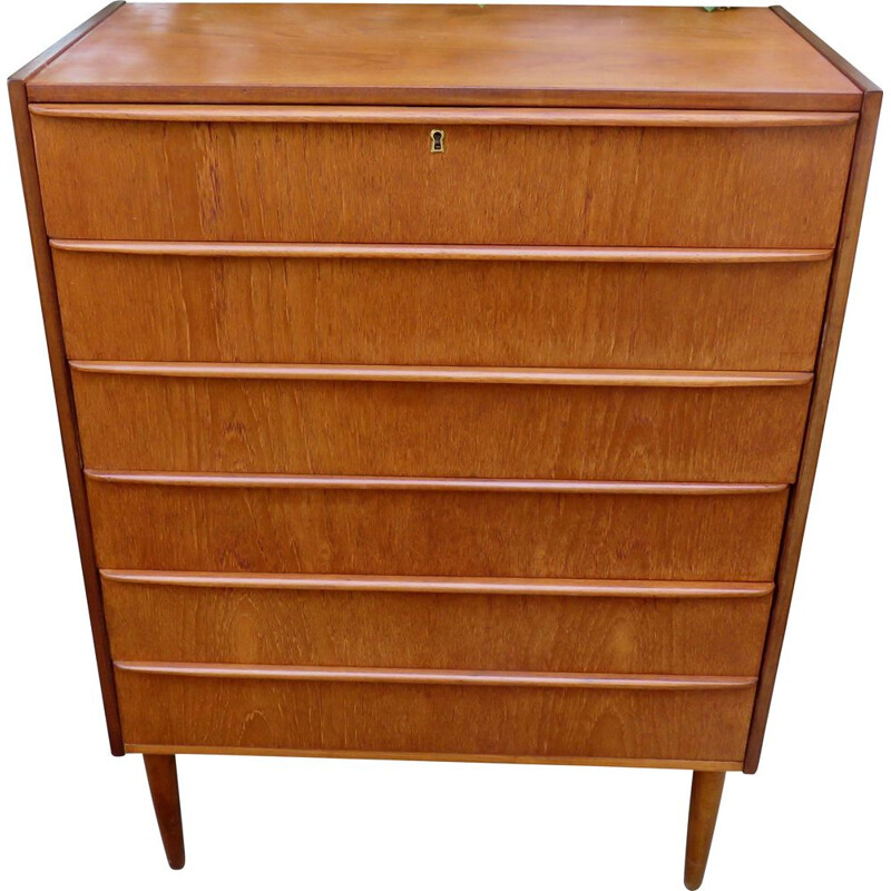 Vintage teak chest of drawers with 6 drawers Denmark 1960