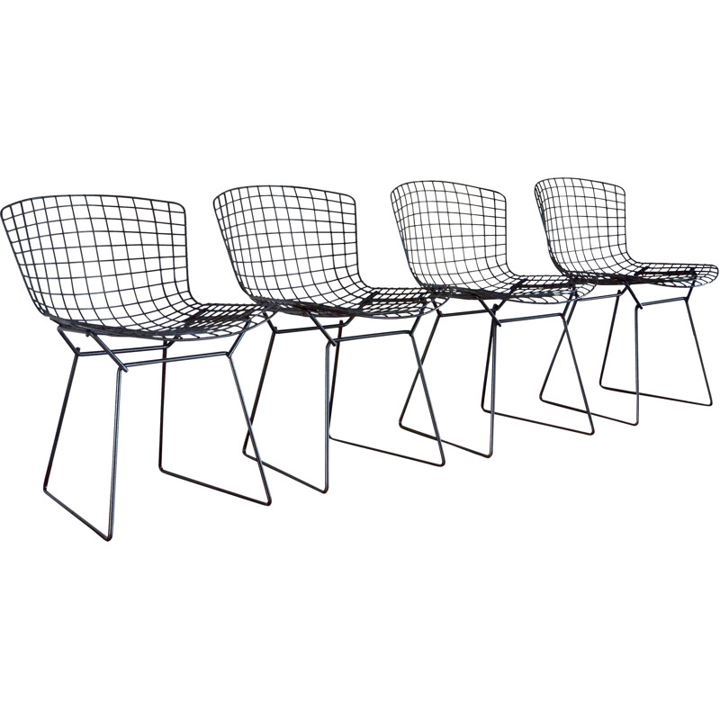 "Set of 4 vintage chairs ""Wire"" by Harry Bertoia for KNOLL black 1960"