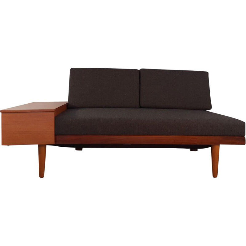 Vintage Daybed Svanette Sofa, Teak and Charcoal Fabric,Ingmar Relling  1960