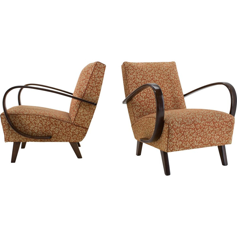 Pair of vintage Armchairs by Jindrich Halabala 1940s