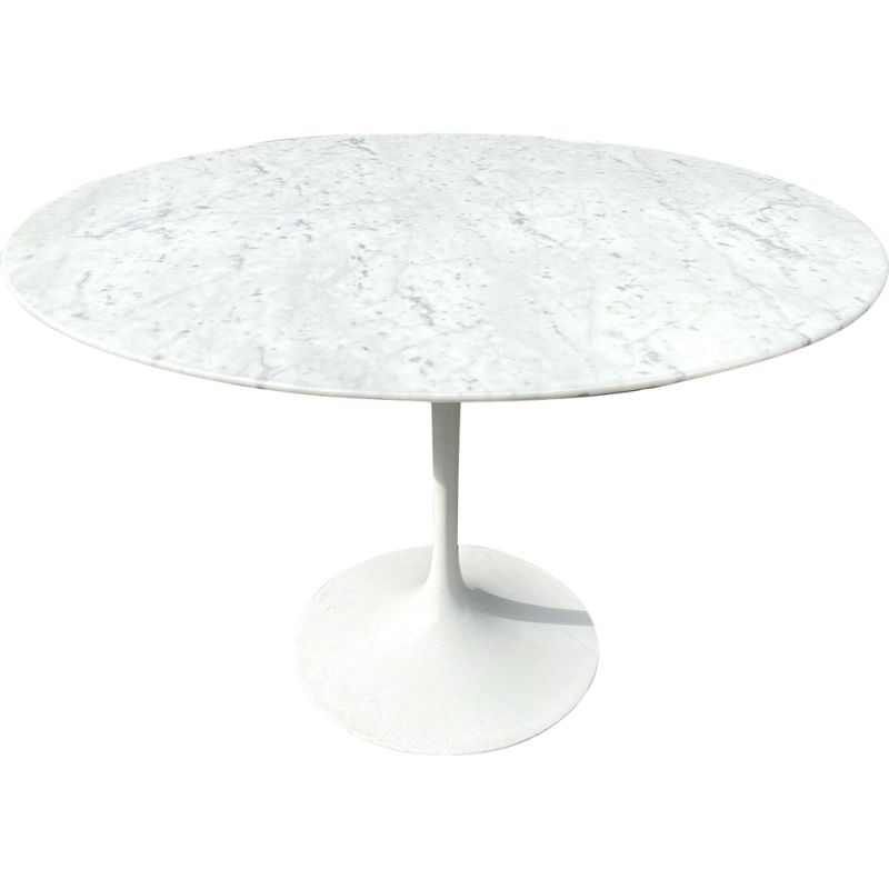 Vintage round table Tulip in Carrara marble from Knoll Ø 107 cm