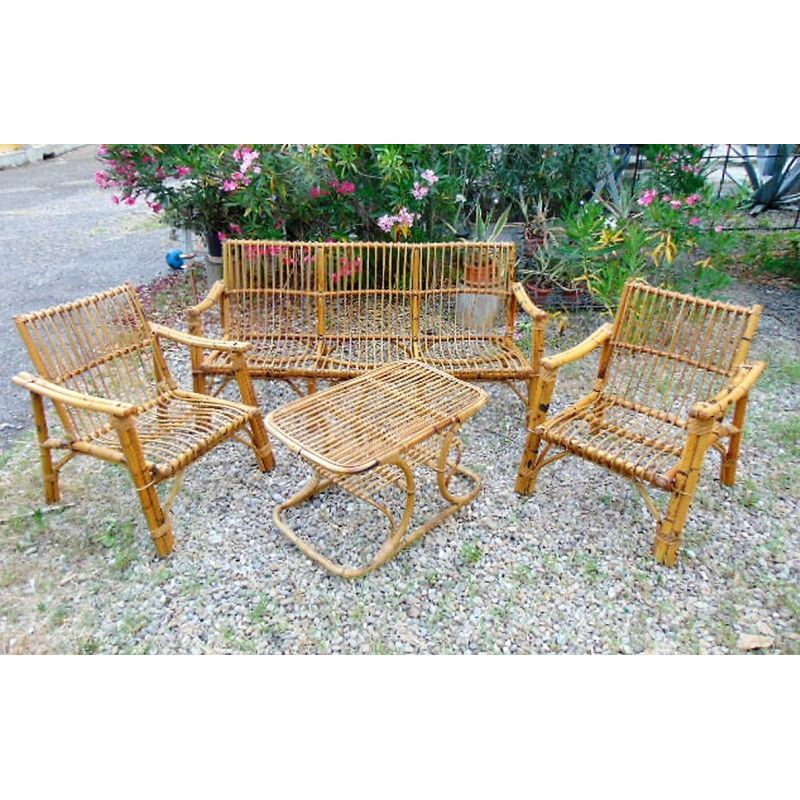 Set Of Vintage Bamboo Chairs And Table, Bamboo Outdoor Furniture Set