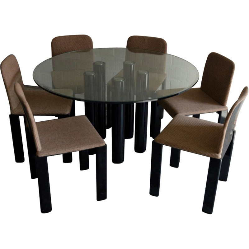 Zanotta dining set in glass, metal and glass lacquered, Marco ZANUSO - 1970s