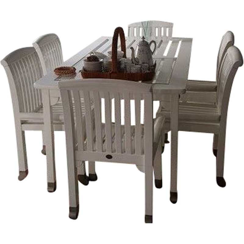 Set of 6 chairs and table in massive wood Chairsketstin hörlin holmquist Eden