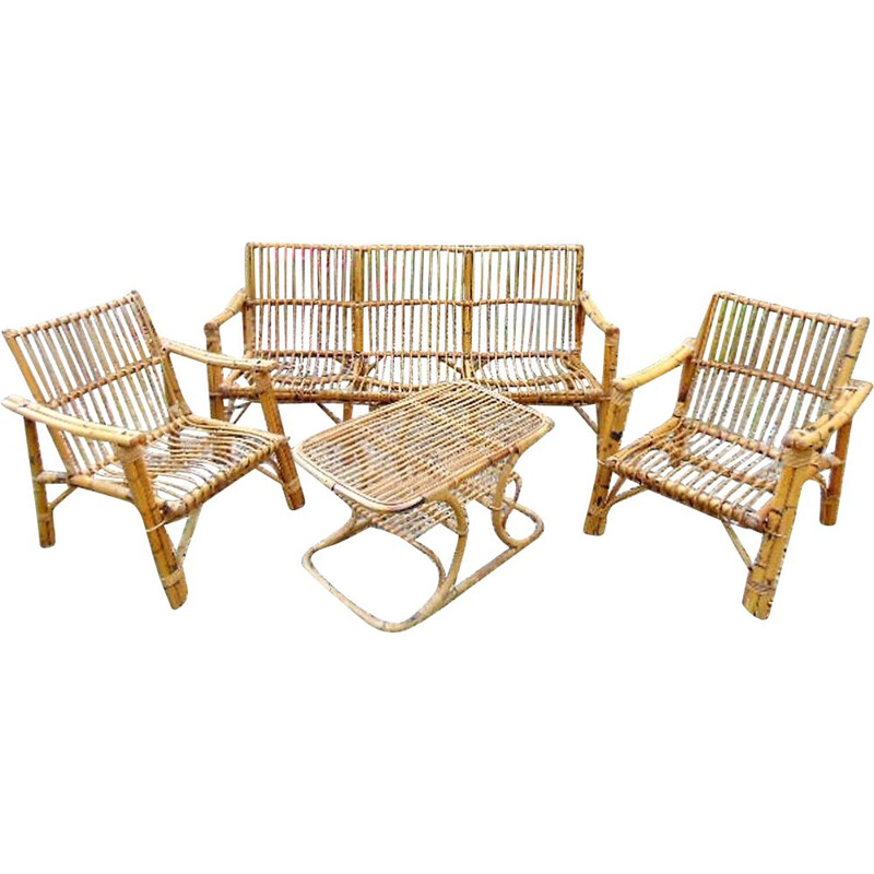 Set of Vintage bamboo chairs and  table outdoor  1970