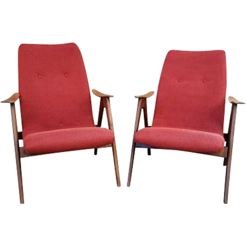 Pair of vintage armchairs by Louis van Teefellen, 1960