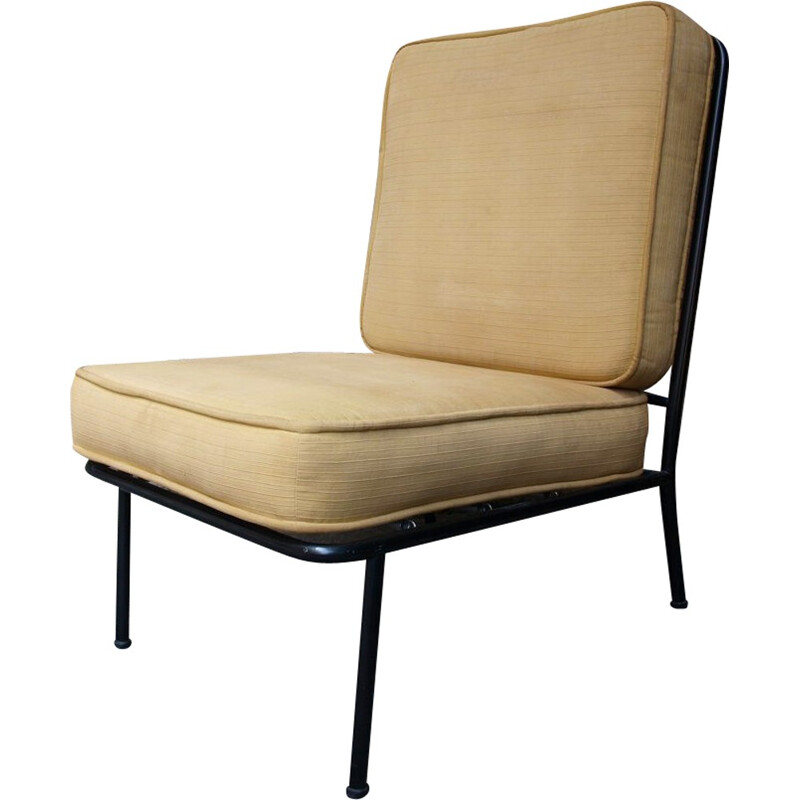 Italian beige low chair in metal - 1950s