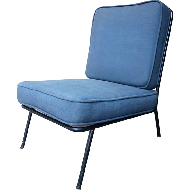 Italian blue low chair in metal - 1950s