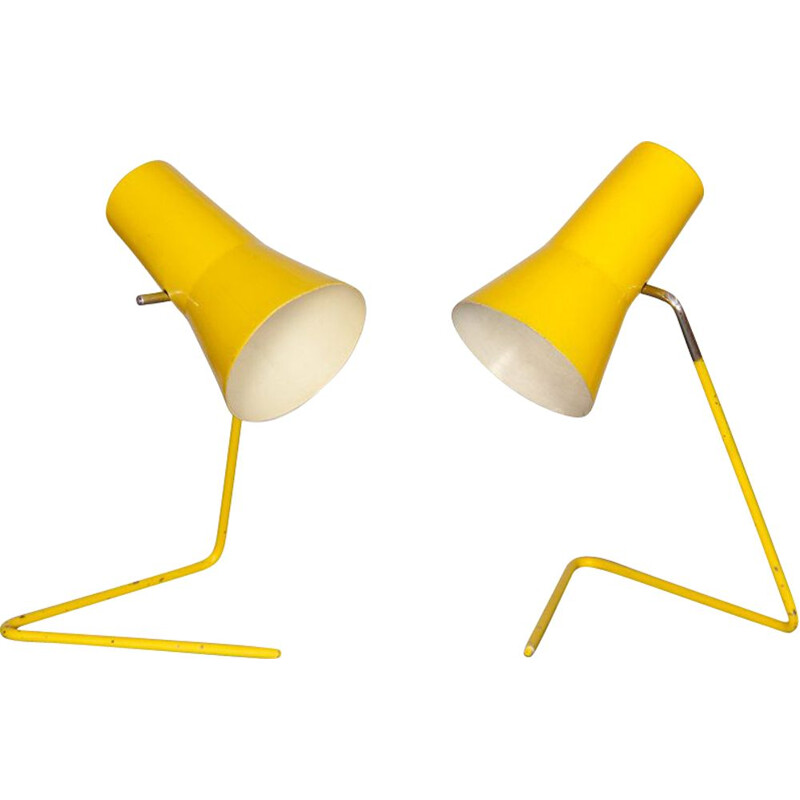 Pair of vintage yellow lamps by Josef Hurka for Drupol 1960