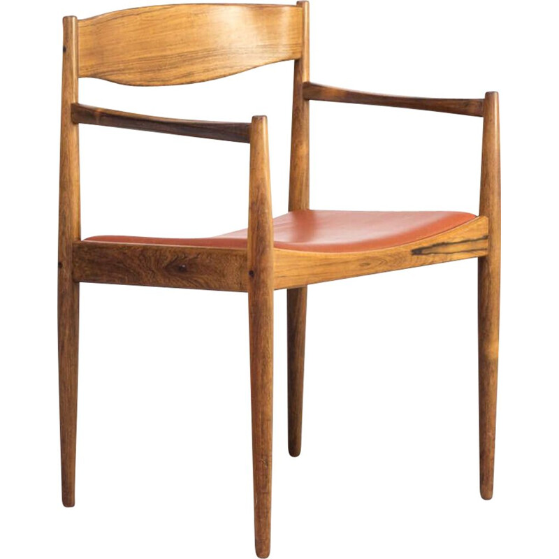 Vintage Rosewood and leather chair for Bramin 1960