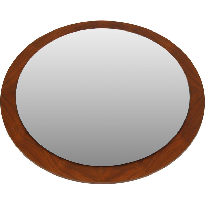 Vintage Large Round mirror with wooden edge, Scandinavian 1960s