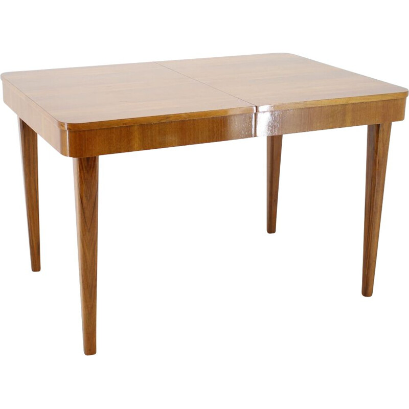 Vintage Art Deco extendable dining table Jindřich Halabala, 1950s