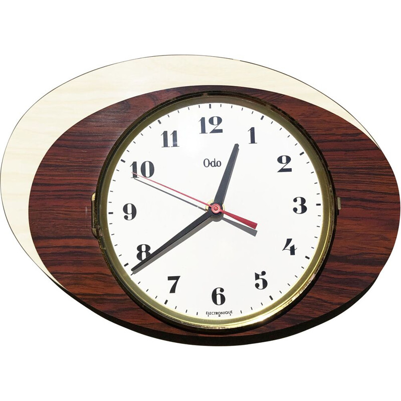 Vintage double ellipse wall clock. France 1960
