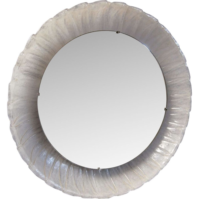 Vintage round Hillebrand mirror with backlighting 1970s