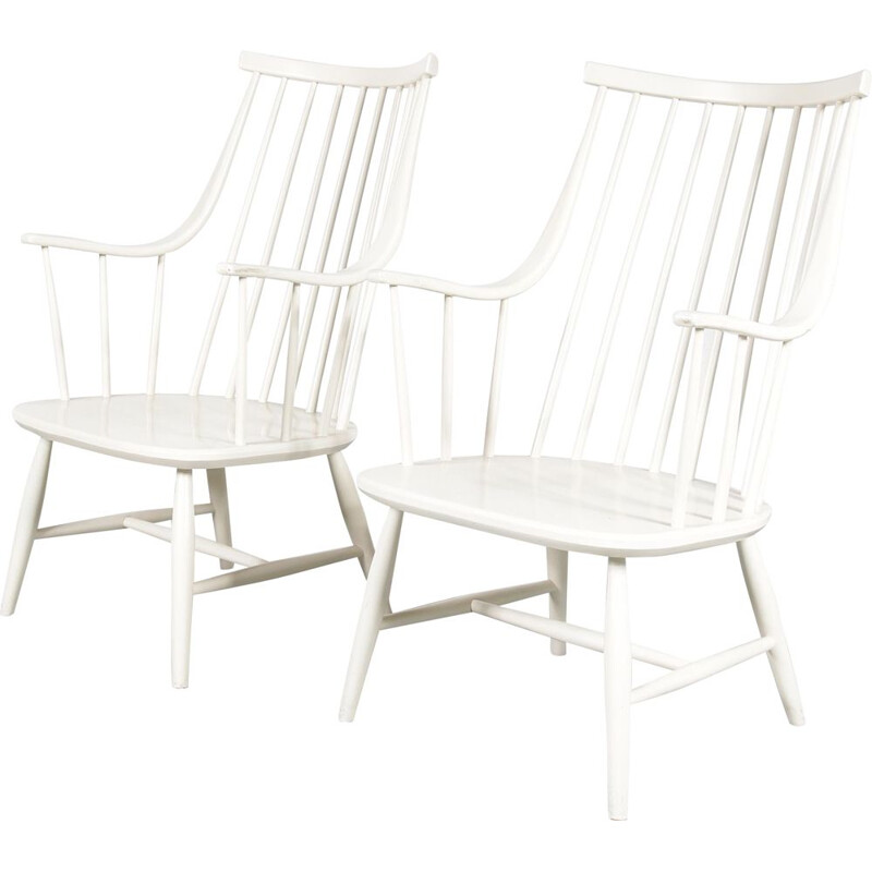 Pair of vintage spokeback chairs by Lena Larsson in Sweden 1950s
