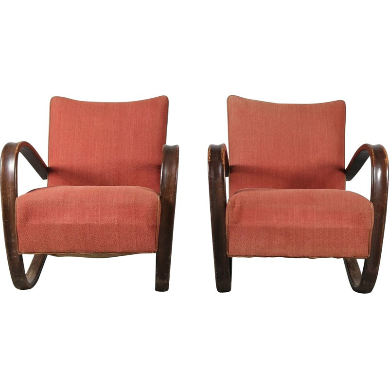 Pair of Vintage Jindrich Halabala Chairs for Up Zadovy from Czech, 1930s