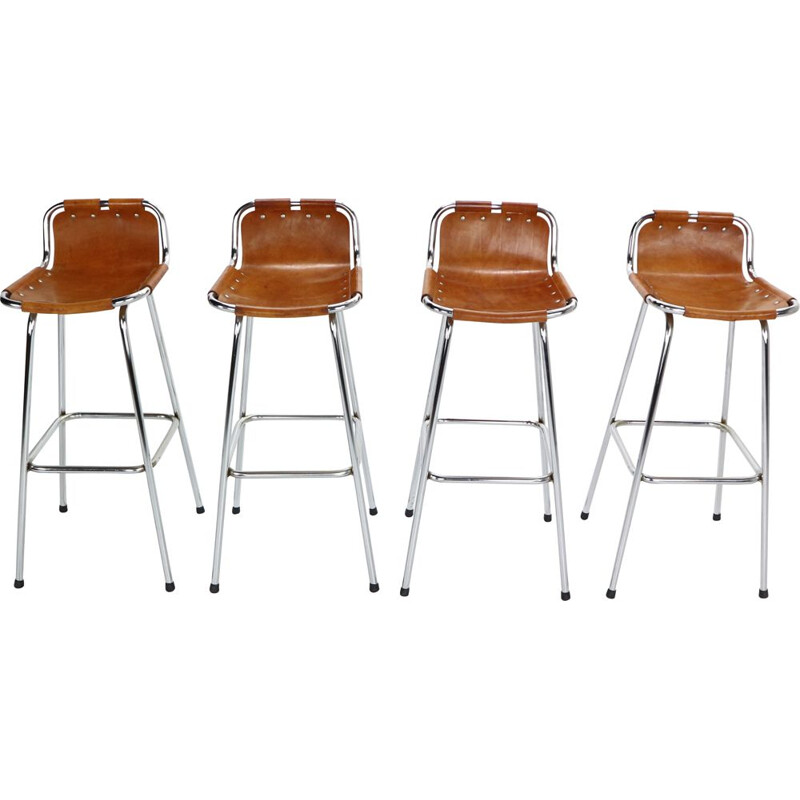 Set of 4 Vintage Leather Barstools by Charlotte Perriand