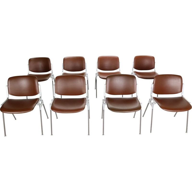 Set of 8 vintage Giancarlo Piretti for Castelli Dinning Chairs, Italy, 1960