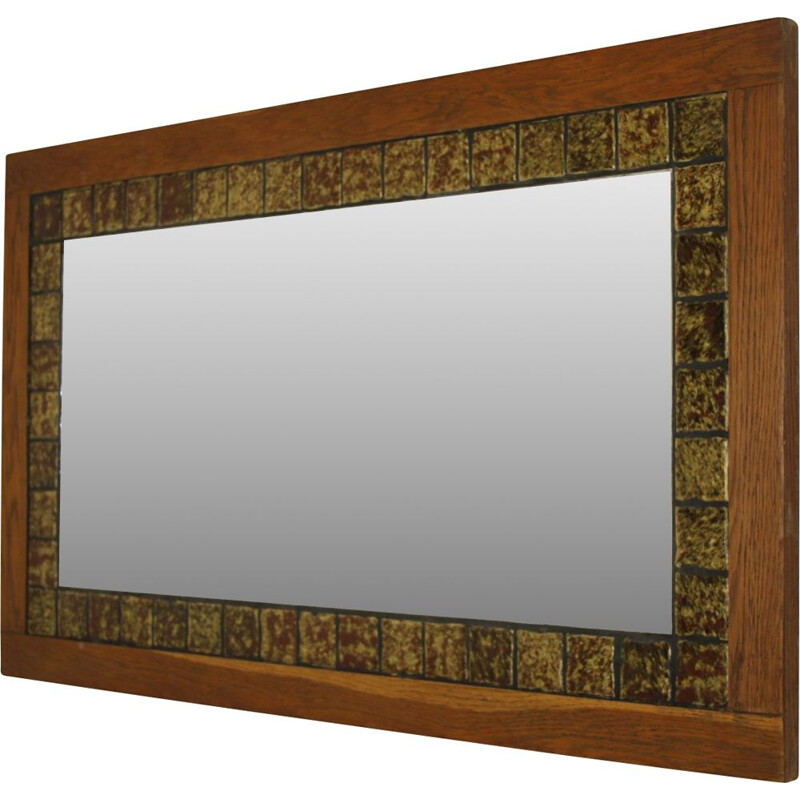 Large vintage mirror with brown tiles in teak wood 1960s
