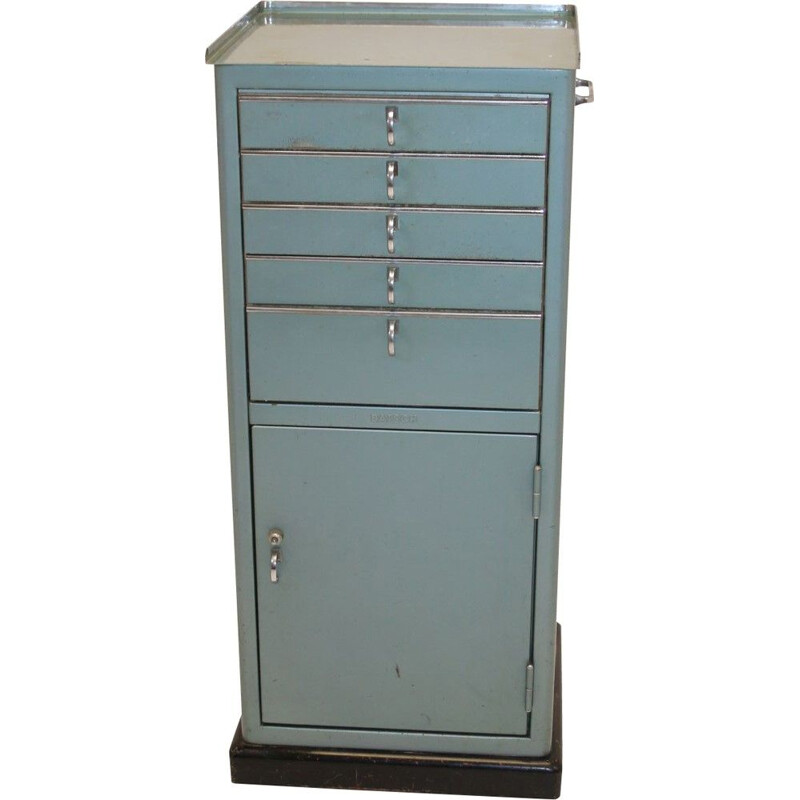 Vintage Industrial Metalen dental cabinet Baisch Germany 1960s
