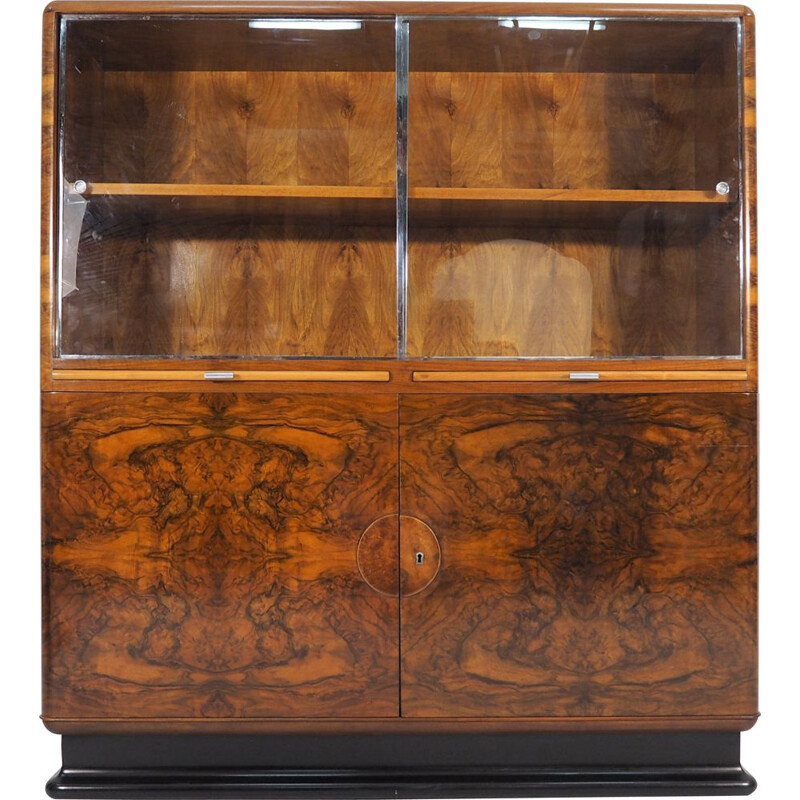 Vintage Showcase Art Deco Walnut Veneer by Jindřich Halabalafor for UP Závody, 1930s
