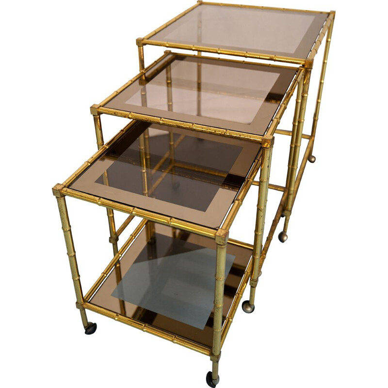 Vintage Tris of Faux Bamboo Gilded Brass Nesting Bar Cart, Italy 1960s
