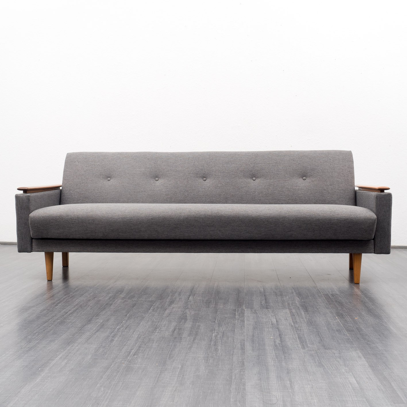 Mid Century Grey Sofa: Mid-century Grey Sofa With Folding Function