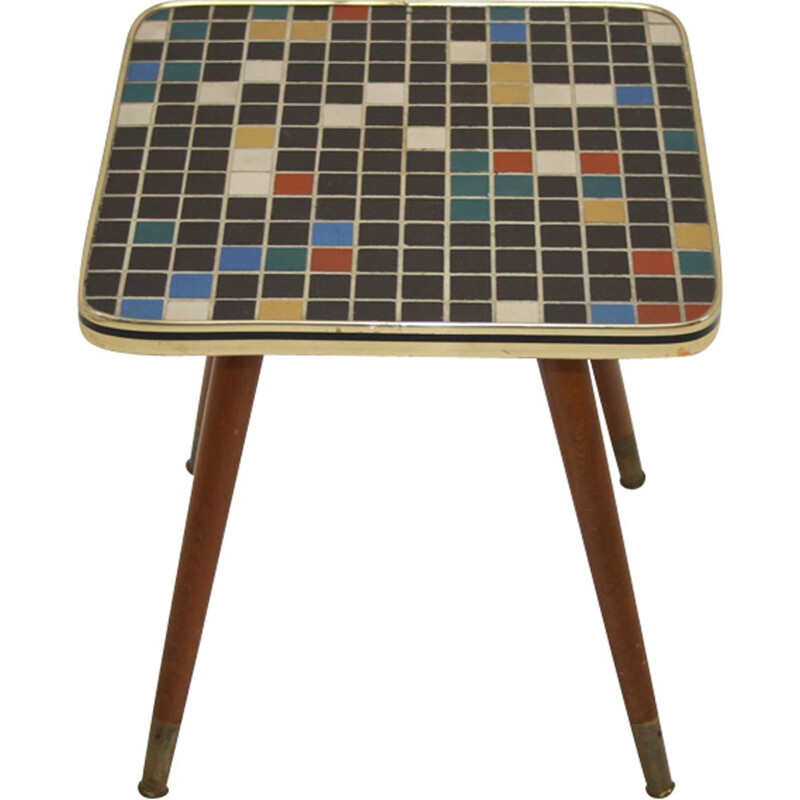 Vintage plant table with mosaic tile top 4 sides 1960s