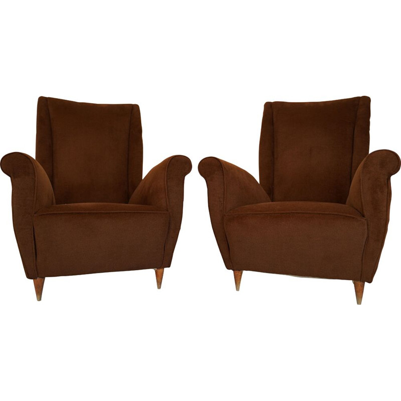 Pair of vintage Brown velvet Armchairs by Gio Ponti, Italian 1950s