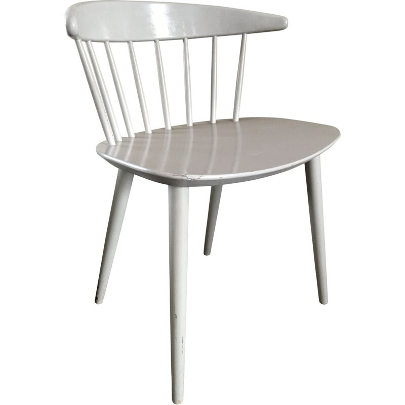 Vintage White Dining Chair by Ejvind A. Johansson for FDB Mobler, Denmark, 1950