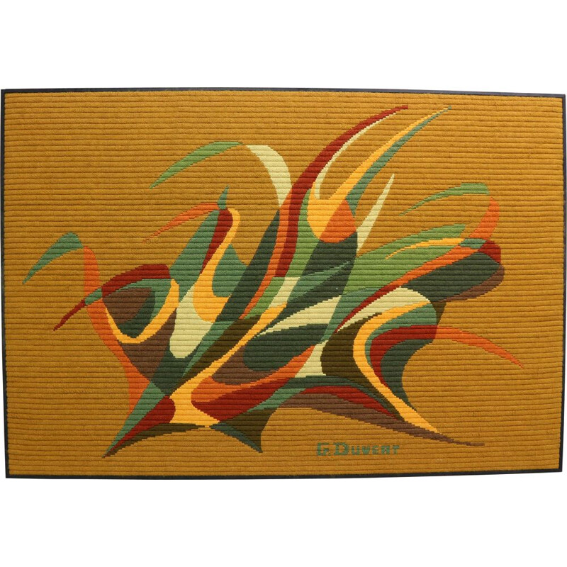 Vintage Abstract Art Tapestry by G. Duvert, France, 1970